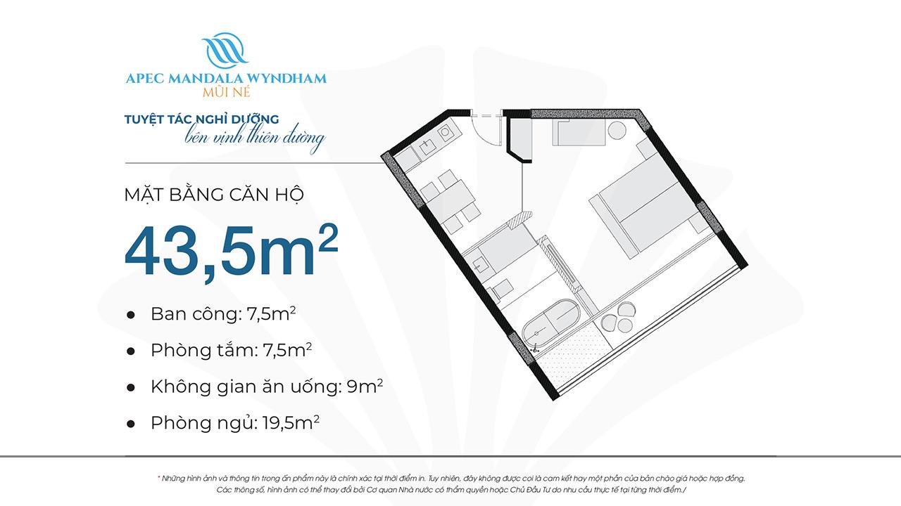 Mặt bằng dự án căn hộ Apec Manlada Wyndham Mũi Né 43.5m2