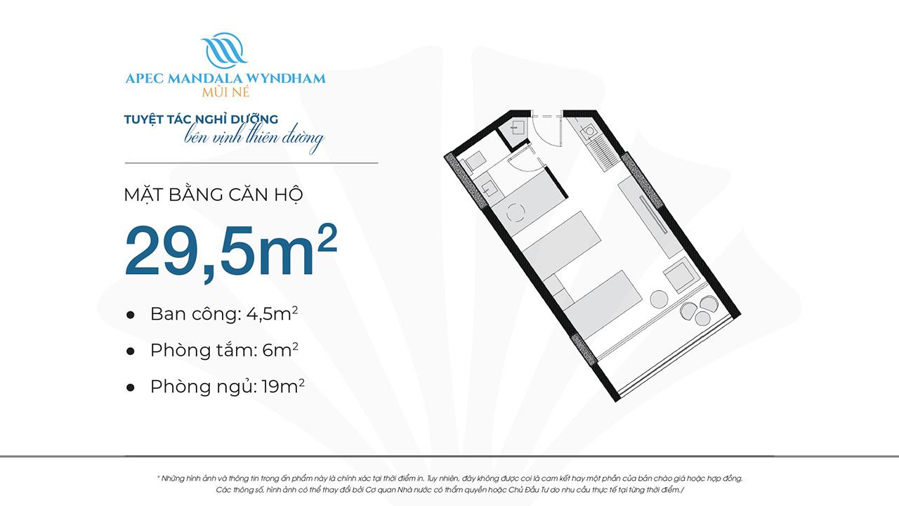 Mặt bằng dự án căn hộ Apec Manlada Wyndham Mũi Né 29.5m2