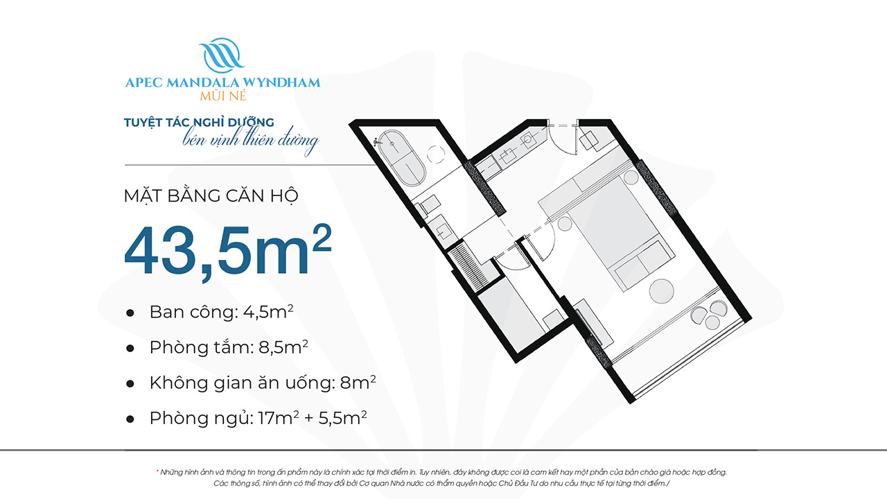 Mặt bằng dự án căn hộ Apec Manlada Wyndham Mũi Né 43.5m2 02