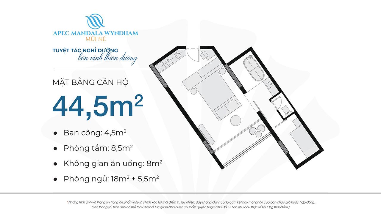 Mặt bằng dự án căn hộ Apec Manlada Wyndham Mũi Né 44.5m2