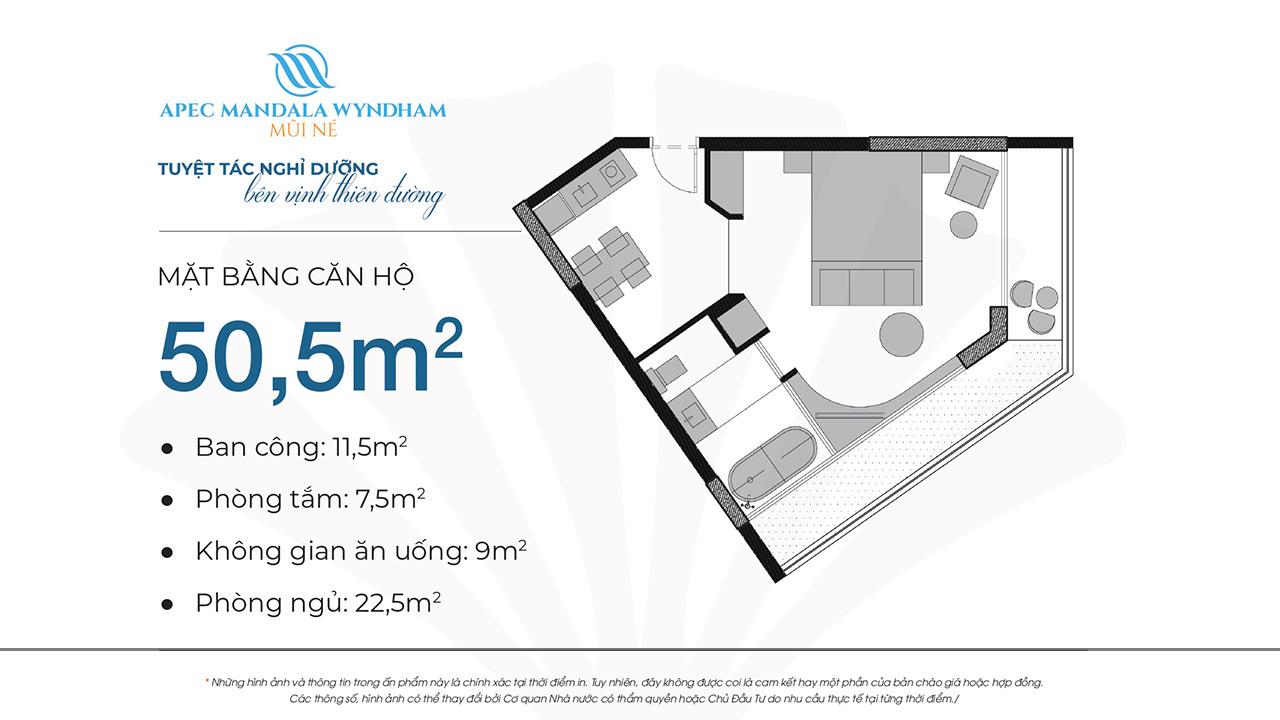 Mặt bằng dự án căn hộ Apec Manlada Wyndham Mũi Né 50.5m2