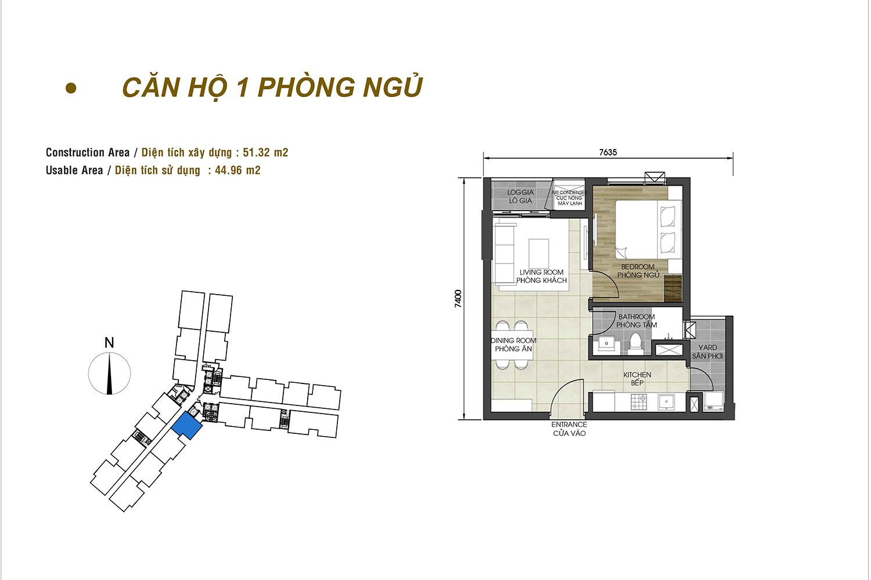 Căn hộ D-Homme 1 phòng ngủ loại 1