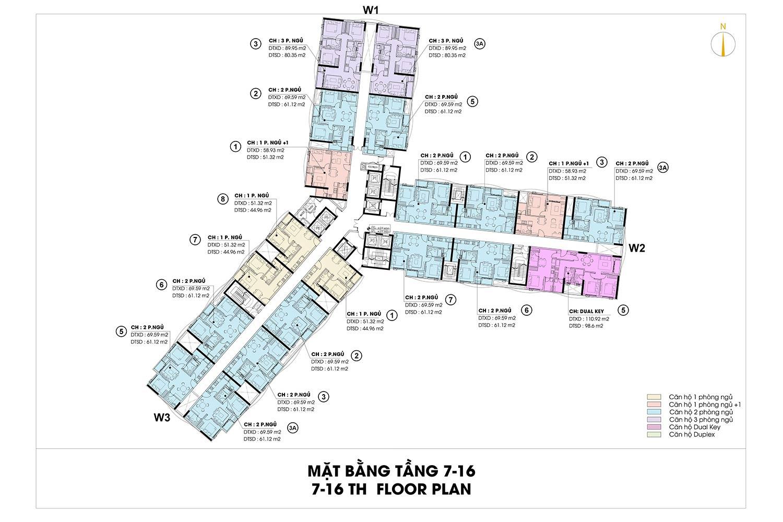 Mặt bằng tầng 7-16 căn hộ D-Homme