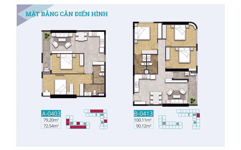 Mặt bằng căn hộ cao cấp C-Skyview 79.20m2 vs 100.11m2