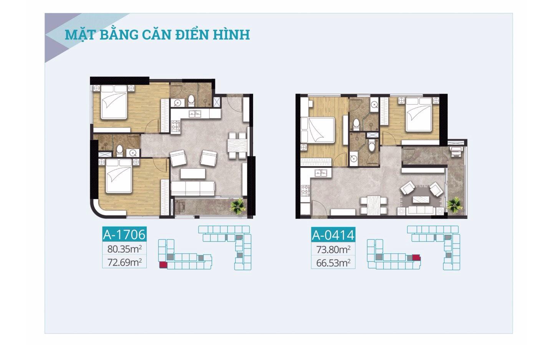 Mặt bằng căn hộ cao cấp C-Skyview 80.35m2 vs 73.80m2