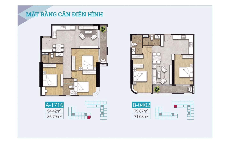Mặt bằng căn hộ cao cấp C-Skyview 94.42m2 vs 79.87m2