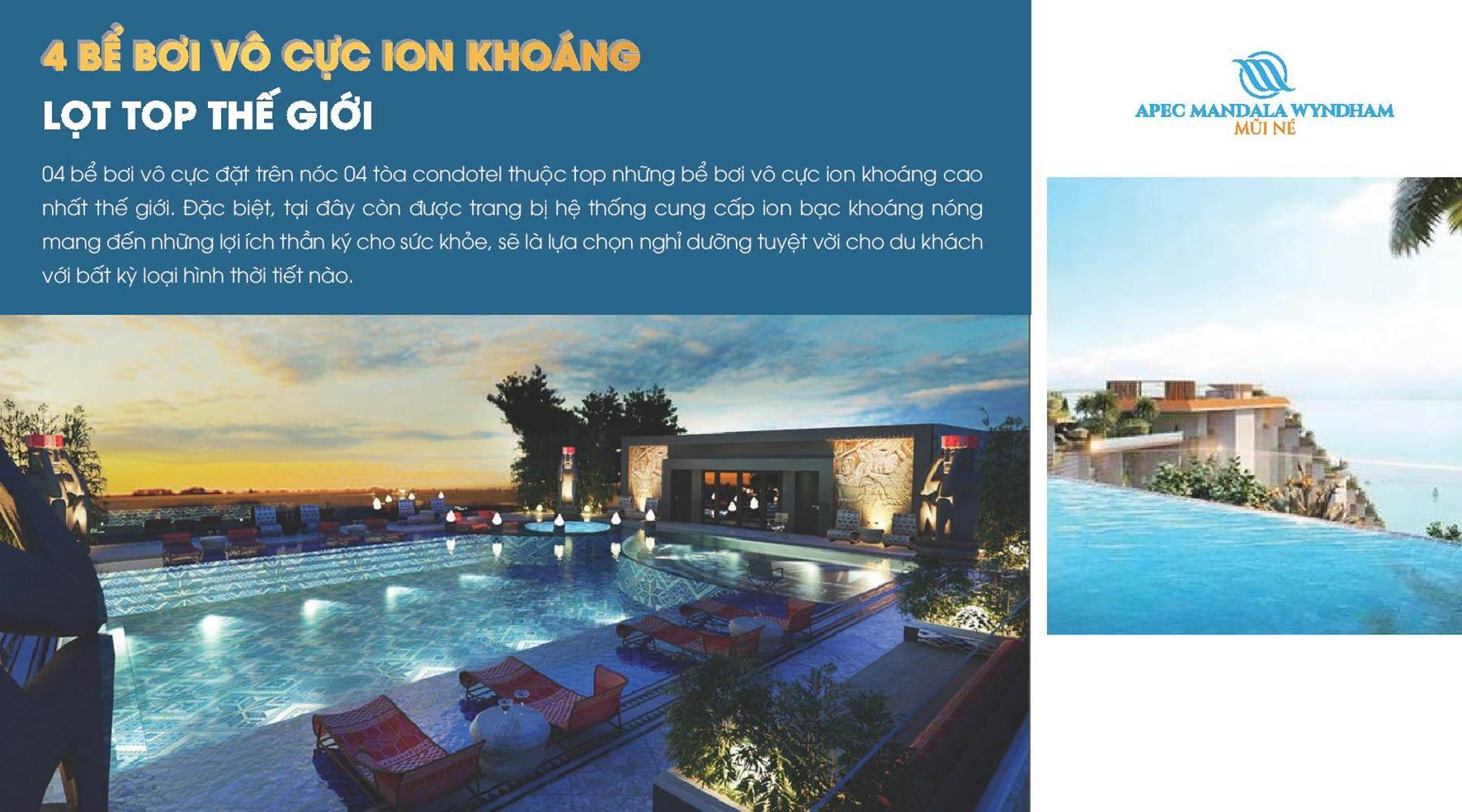 Tiện ích dự án Apec Mandala Wyndham Mũi Né 4 bể bơi vô cực ion khoáng