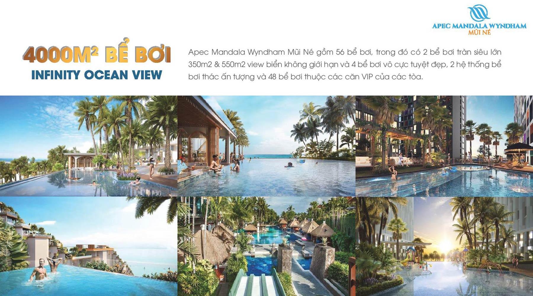 Tiện ích dự án Apec Mandala Wyndham Mũi Né 4000m2 bể bơi