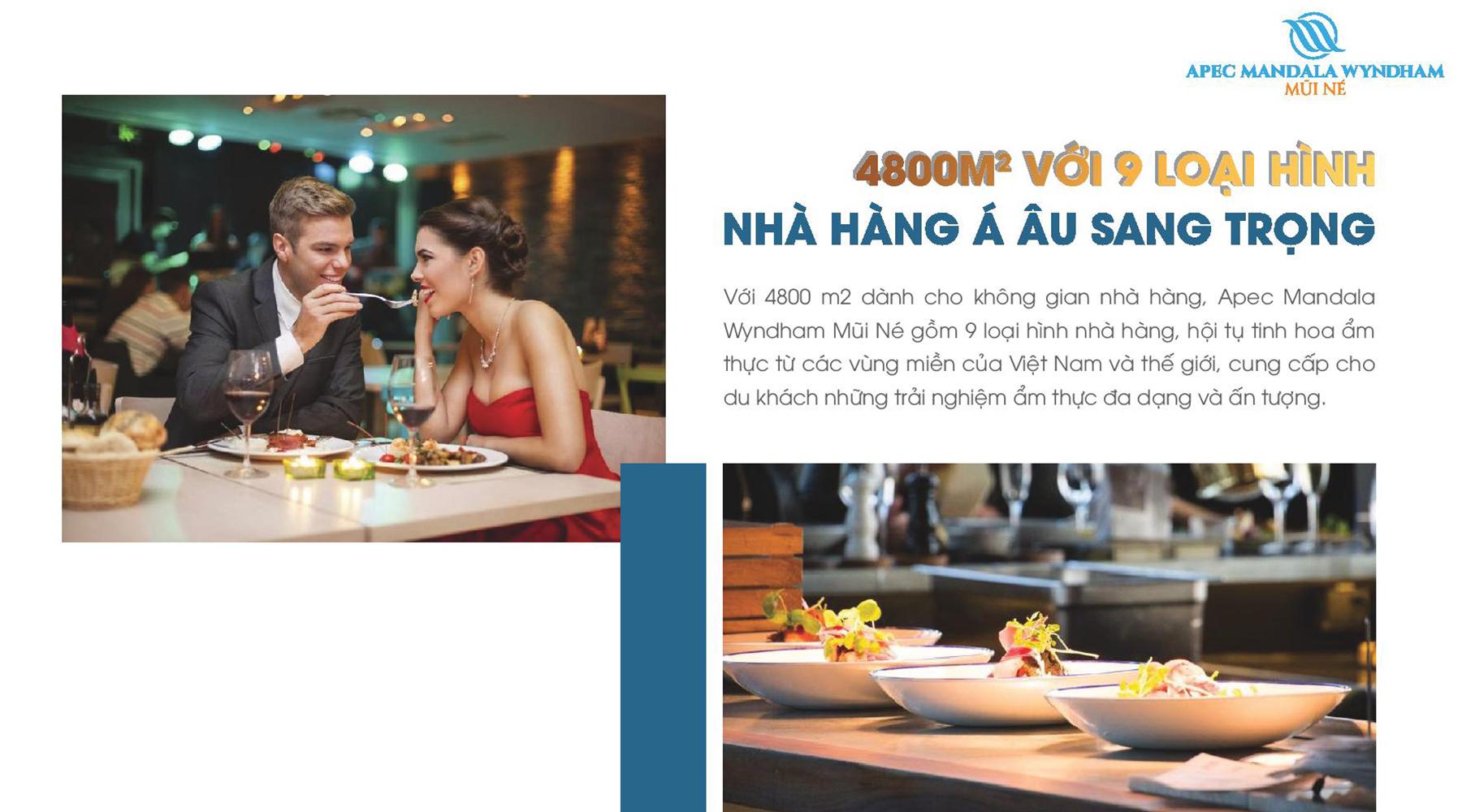 Tiện ích dự án Apec Mandala Wyndham Mũi Né 4000m2 nhà hàng Á Âu