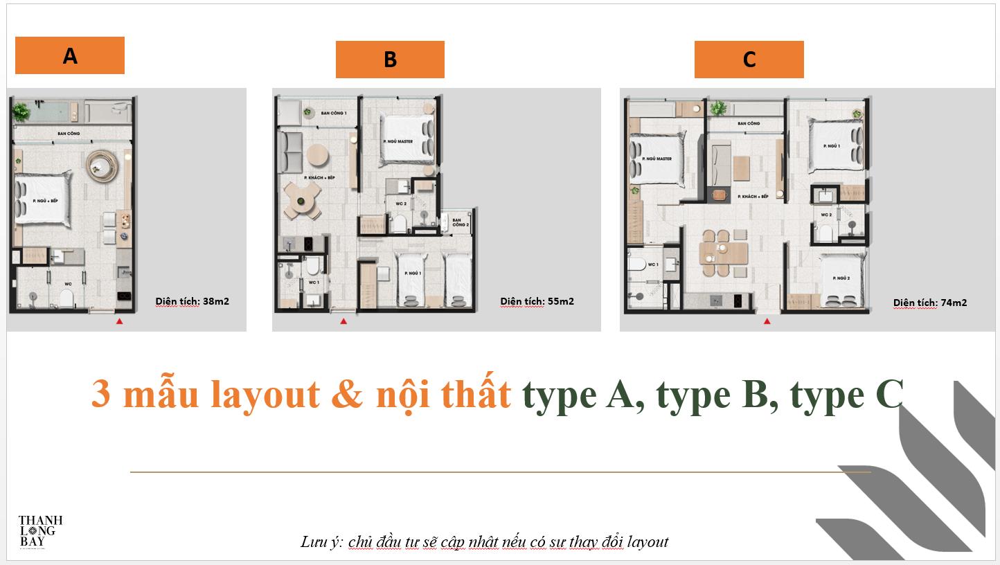 3 mẫu layout và nội thất dự án Thanh Long Bay