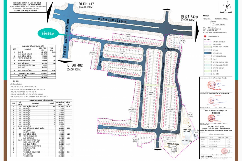 Mặt bằng phân lô dự án đất nền Tân Phước Khánh