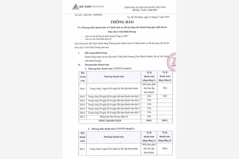 Phương thức thanh toán dự án đất nền Tân Phước Khánh