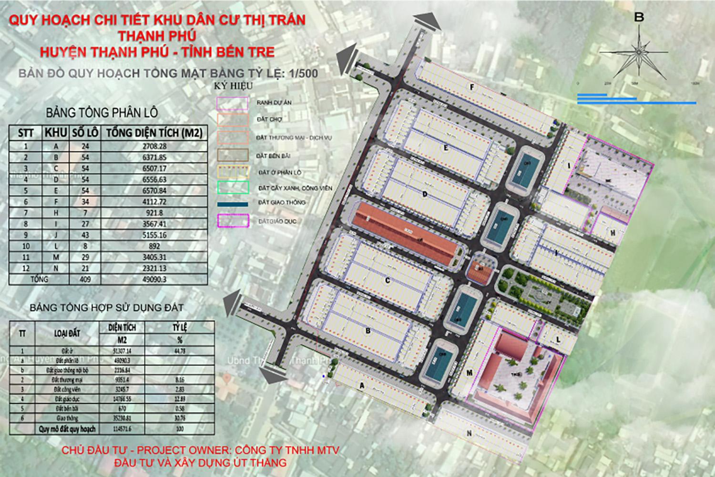 Bản đồ quy hoạch tổng thể dự án đất nền Thạnh Phú Center