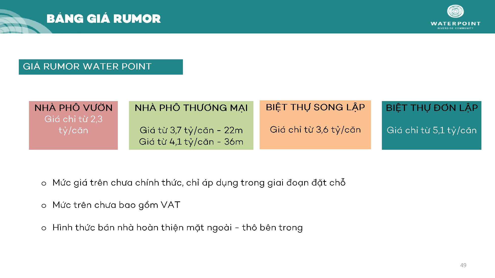 Bảng giá Rumor Waterpoint Long An