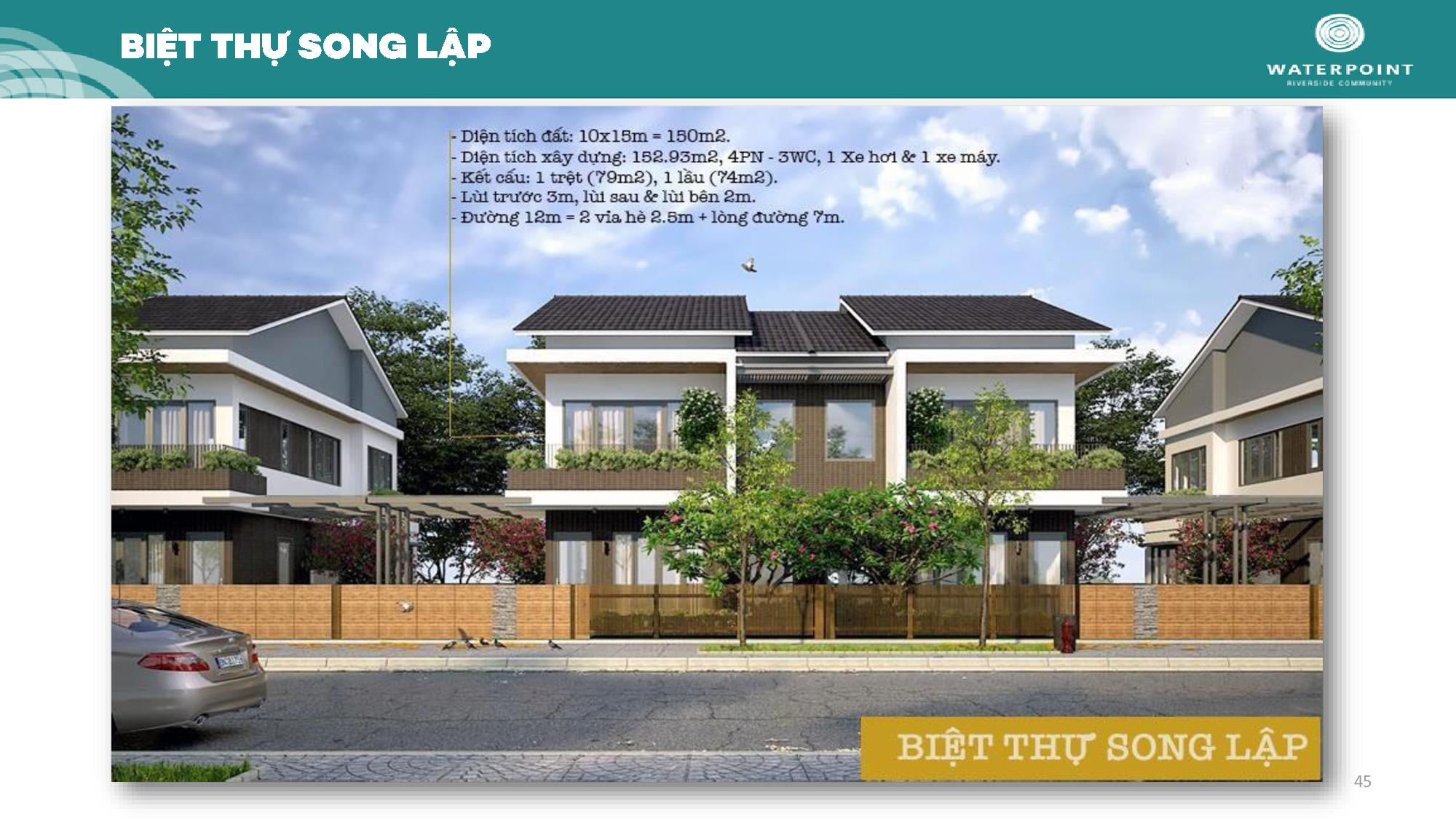 Biệt thự song lập Waterpoint Long An