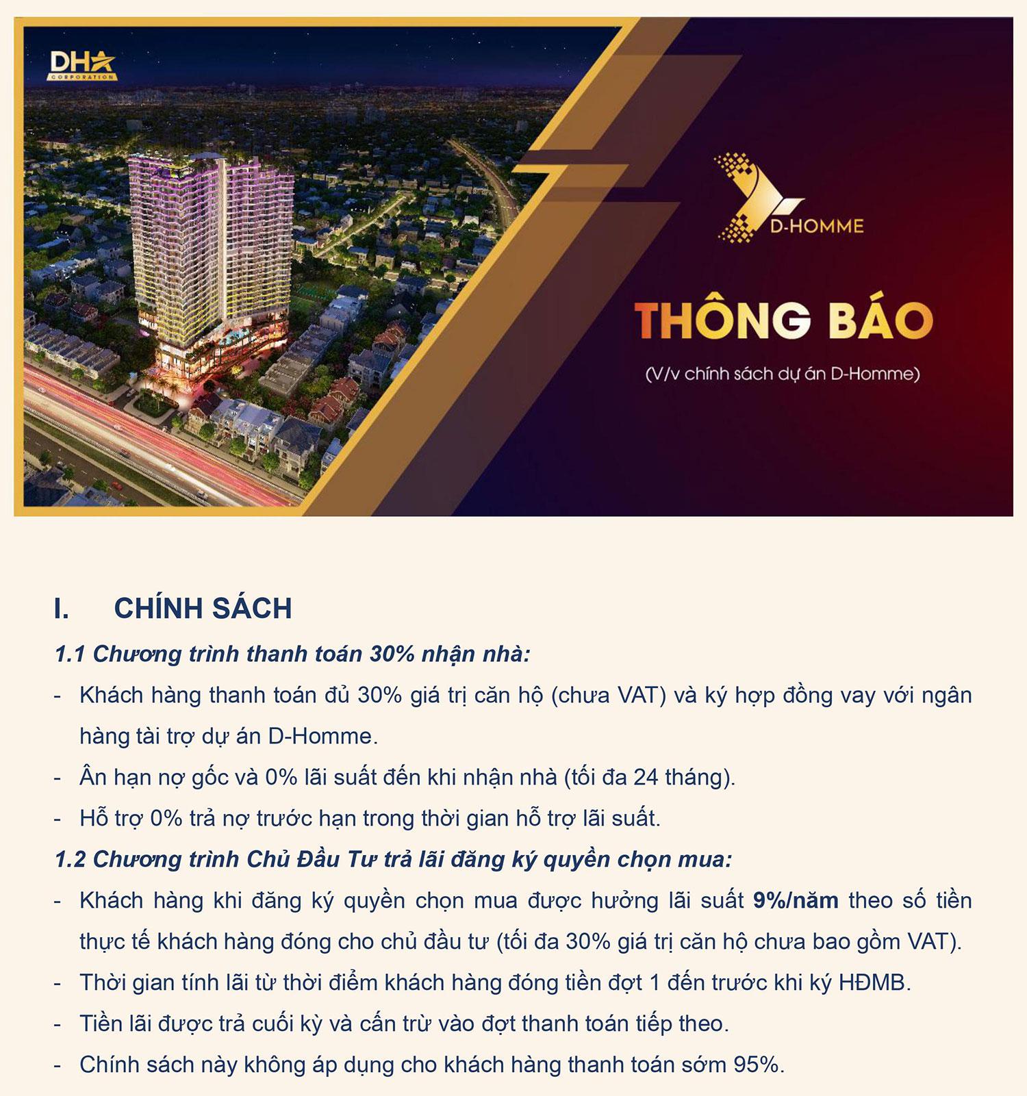 Chính sách ưu đãi D-Homme Hồng Bàng Quận 6 01