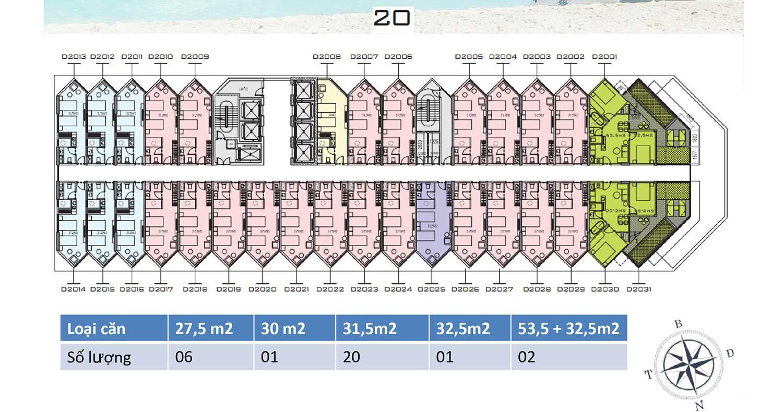 Mặt bằng dự án Apec Mandala Wyndham Mũi Né tầng 20