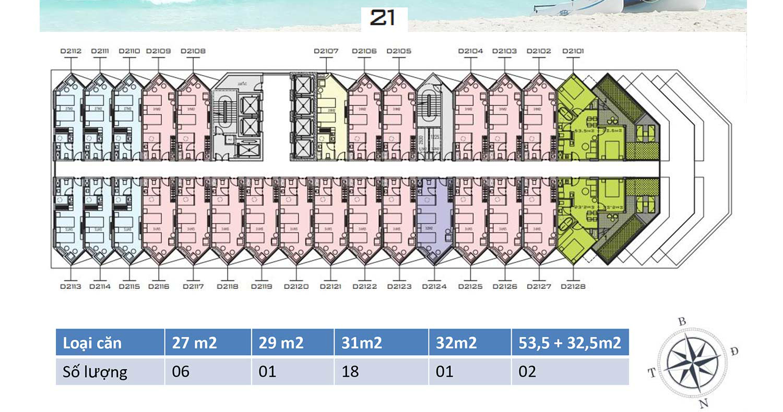 Mặt bằng dự án Apec Mandala Wyndham Mũi Né tầng 21
