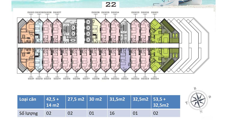 Mặt bằng dự án Apec Mandala Wyndham Mũi Né tầng 22