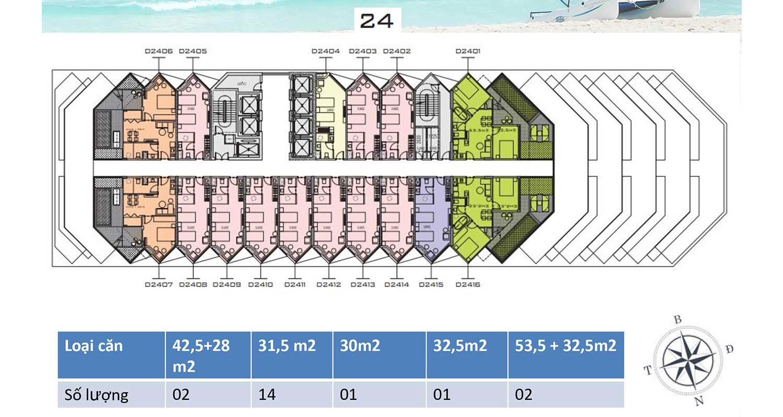 Mặt bằng dự án Apec Mandala Wyndham Mũi Né tầng 24