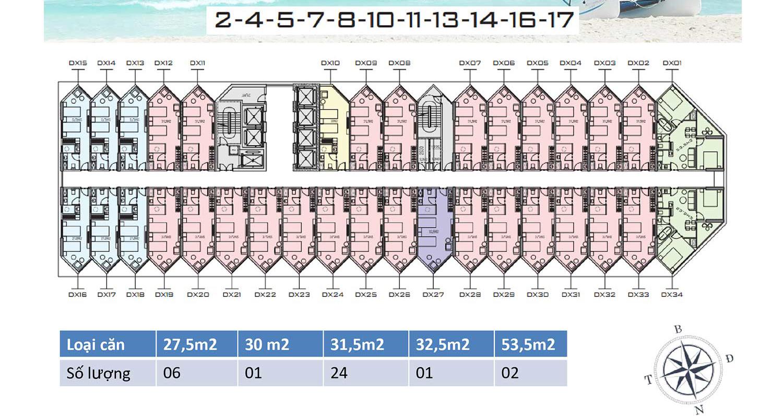 Mặt bằng dự án Apec Mandala Wyndham Mũi Né tầng 2-17