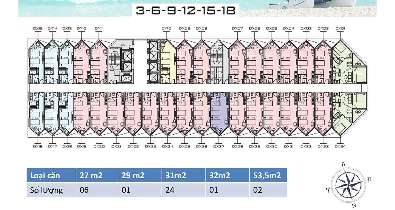 Mặt bằng dự án Apec Mandala Wyndham Mũi Né tầng 3-18