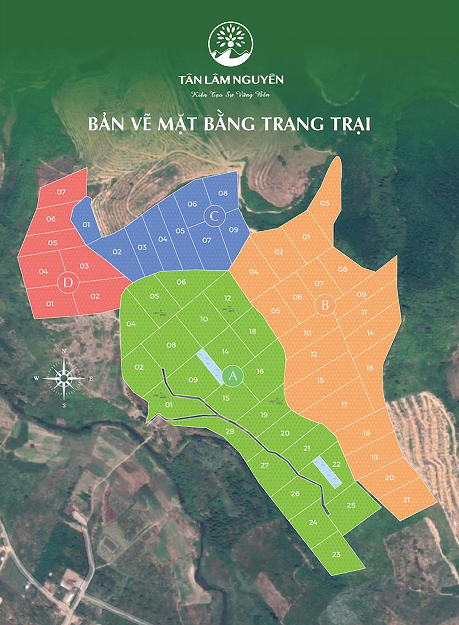 Tổng mặt bằng trang trại Tân Lâm Nguyên