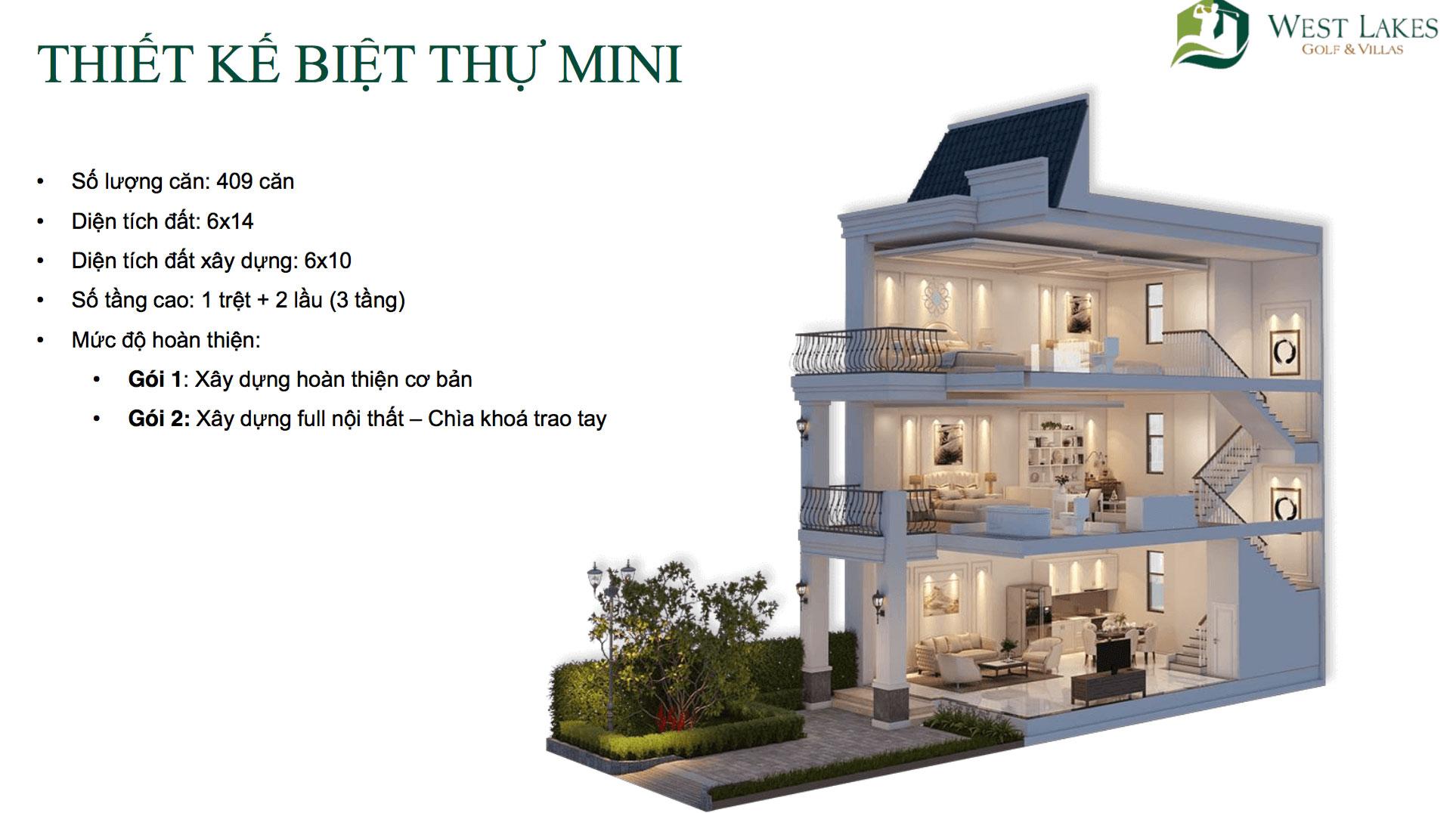 Thiết kế biệt thự Mini West Lakes Golf & Villas hình 1