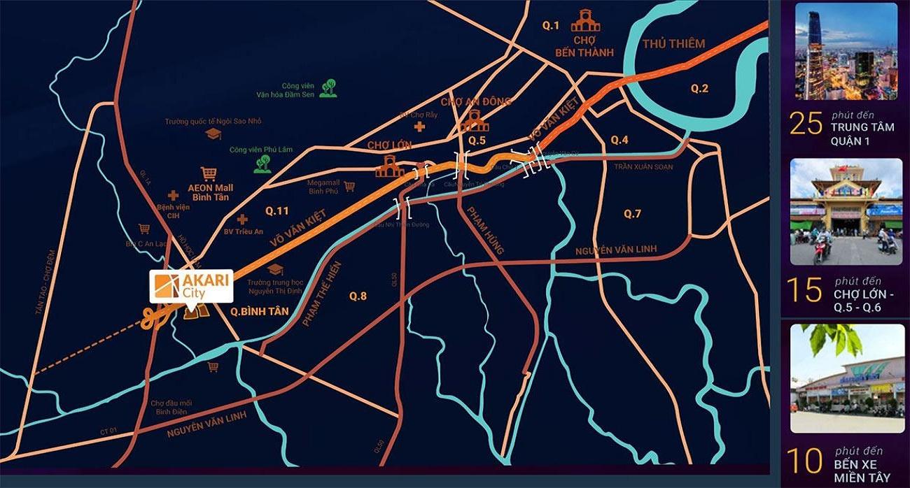 Từ vị trí Akari City Bình Tân dễ dàng kết nối đến các khu vực xung quanh