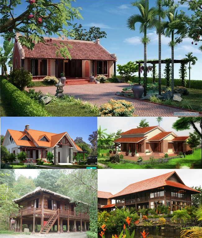 Nhà vườn theo phong cách nhà sàn, nhà ba gian đẹp thuần Việt