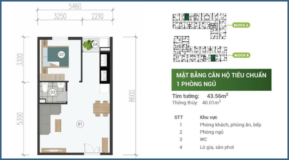 Mặt bằng căn hộ 1 phòng ngủ Parkview Apartment