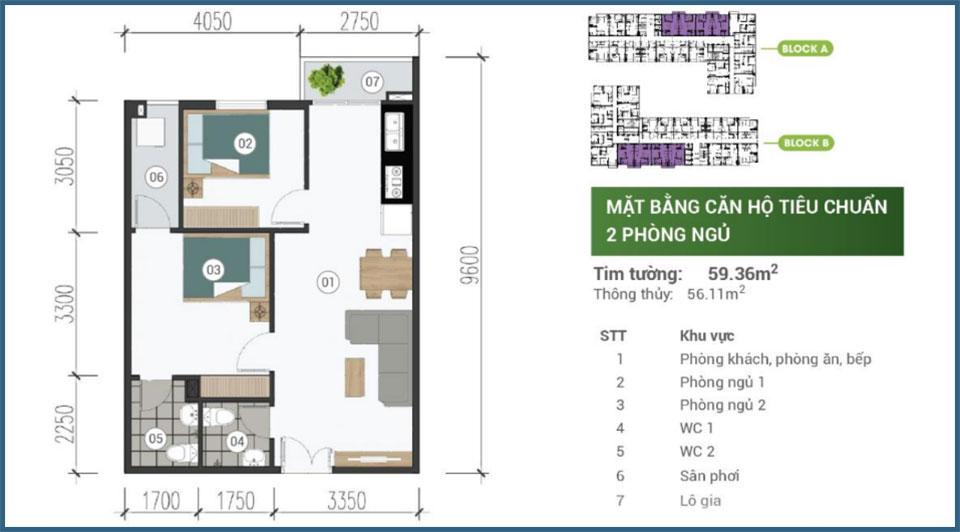 Mặt bằng căn hộ 2 phòng ngủ Parkview Apartment 03