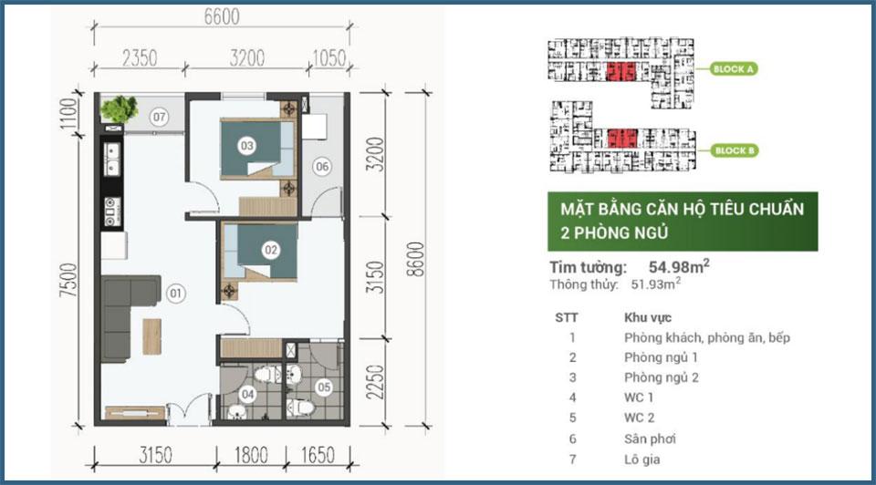 Mặt bằng căn hộ 2 phòng ngủ Parkview Apartment