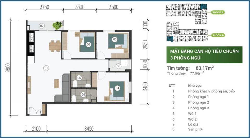 Mặt bằng căn hộ 3 phòng ngủ Parkview Apartment