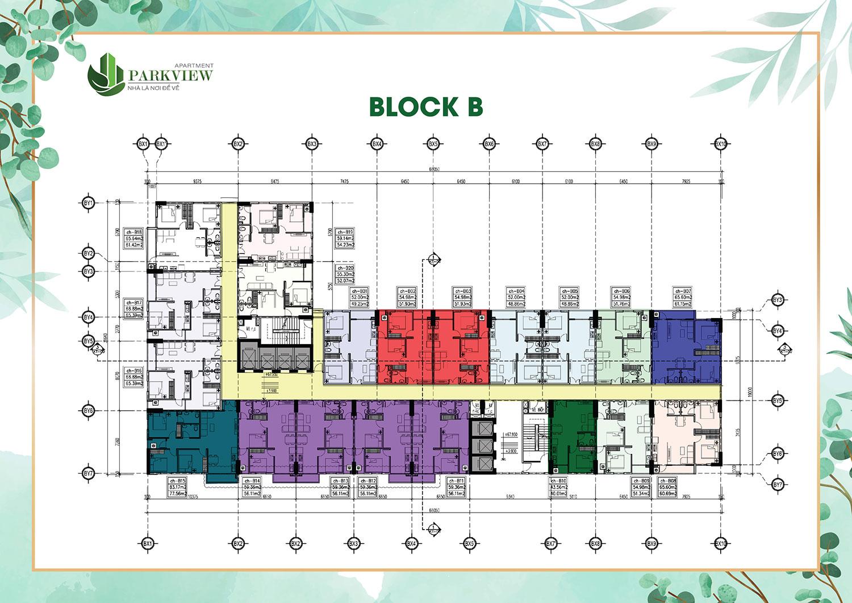 Mặt bằng dự án Parkview Apartment Block B