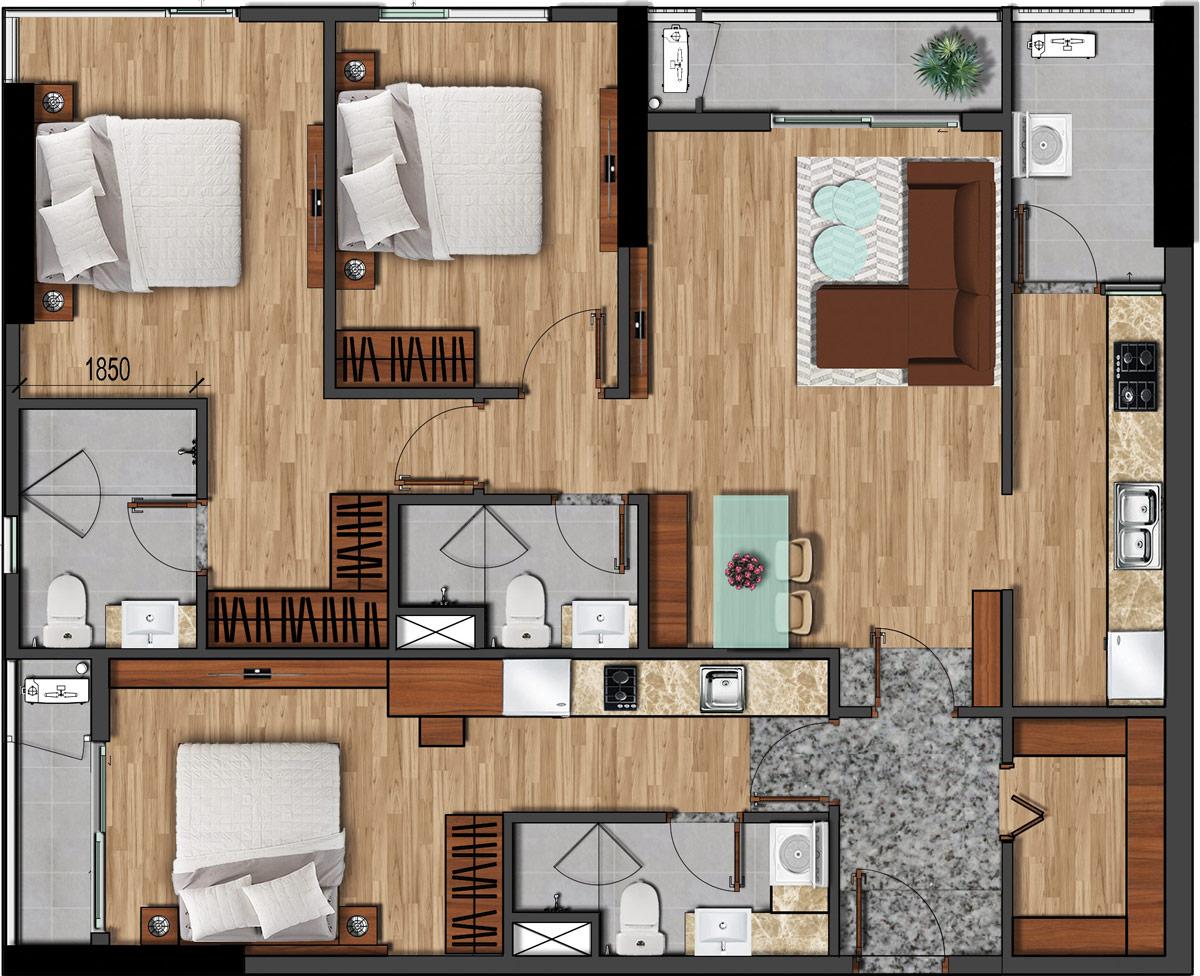 Thiết kế độc đáo, đa năng của căn hộ Flora phiên bản giới hạn Dual Key