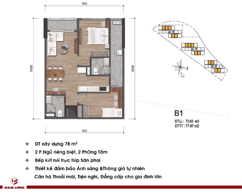 Mặt bằng căn hộ Mizuki Park 78m2