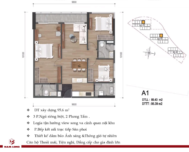 Mặt bằng căn hộ Mizuki Park 95m2