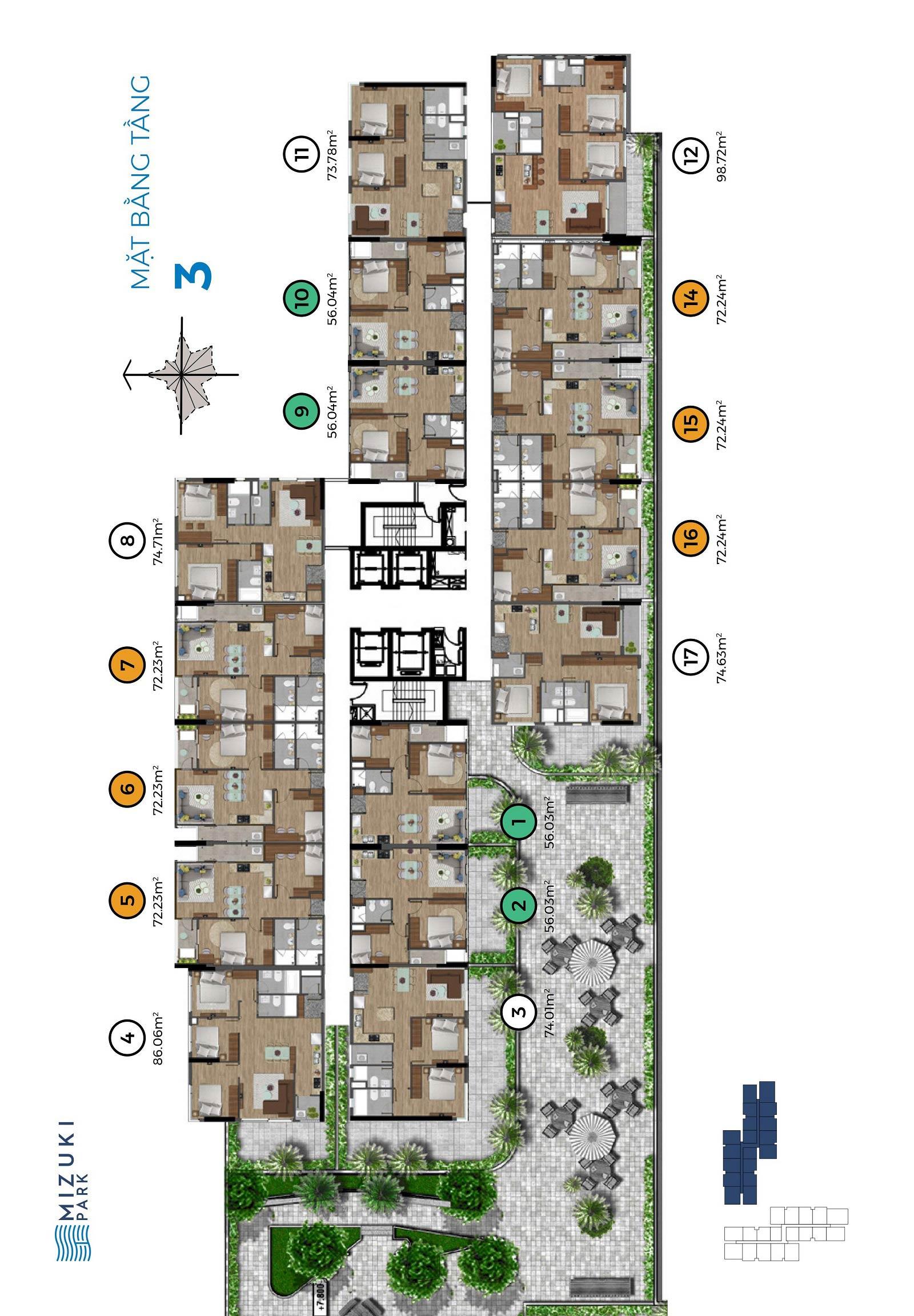 Mặt bằng Mizuki Park 1 tầng 3