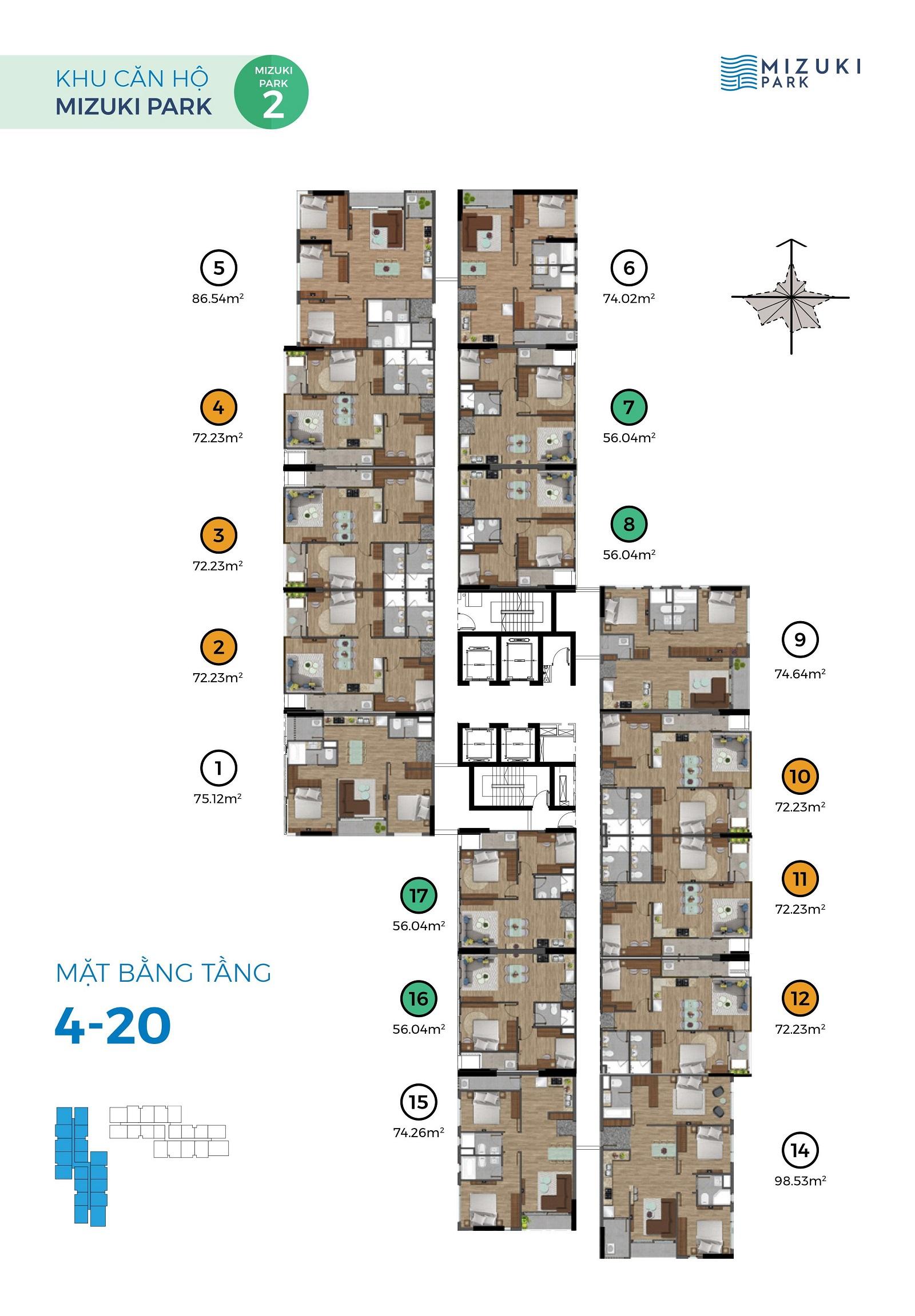 Mặt bằng Mizuki Park 2 tầng 3-4