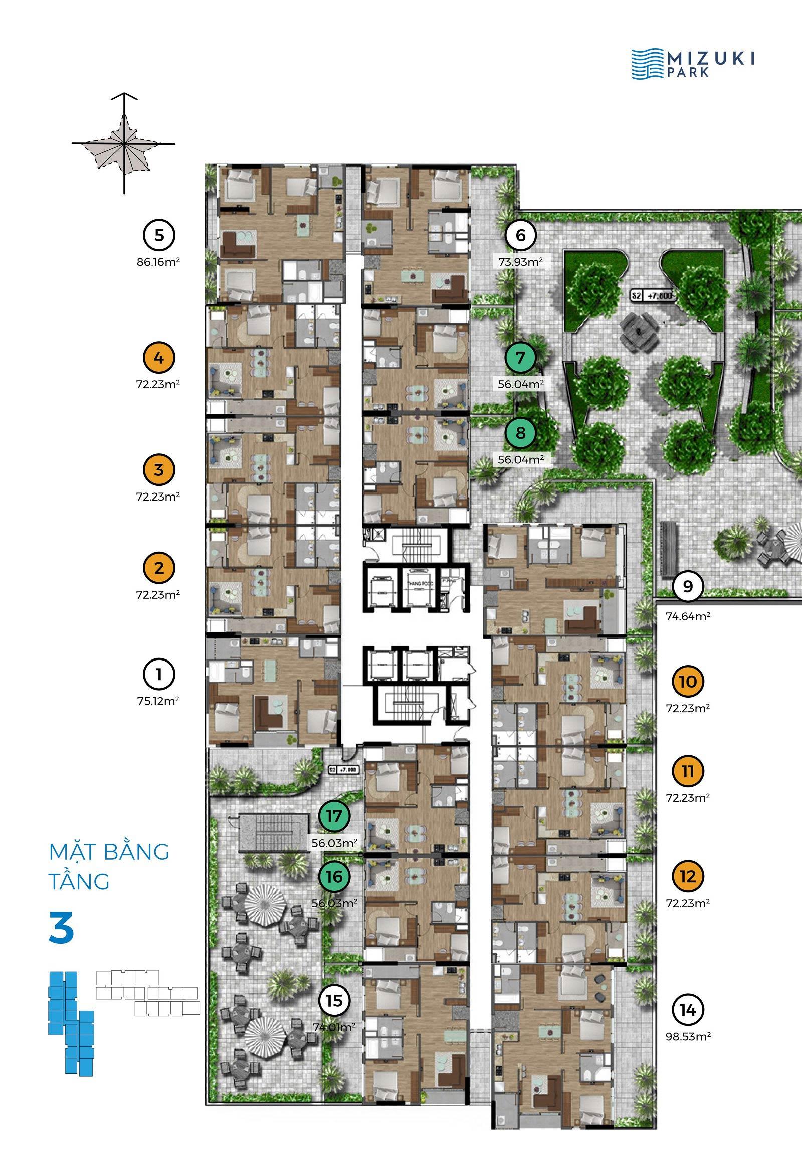 Mặt bằng Mizuki Park 2 tầng 3