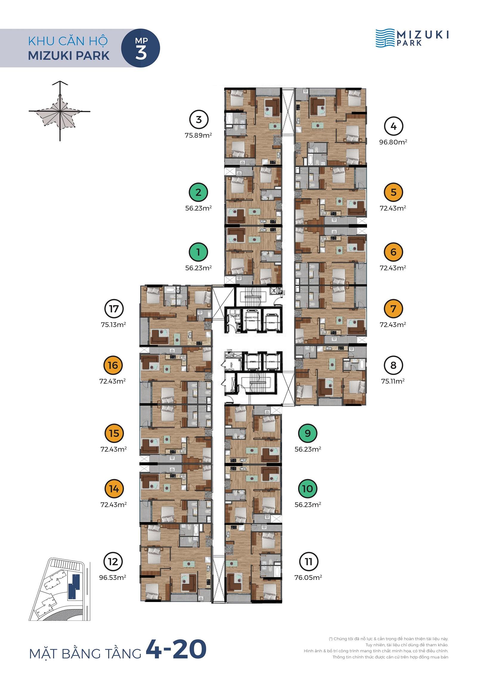 Mặt bằng Mizuki Park 3 tầng 3-4