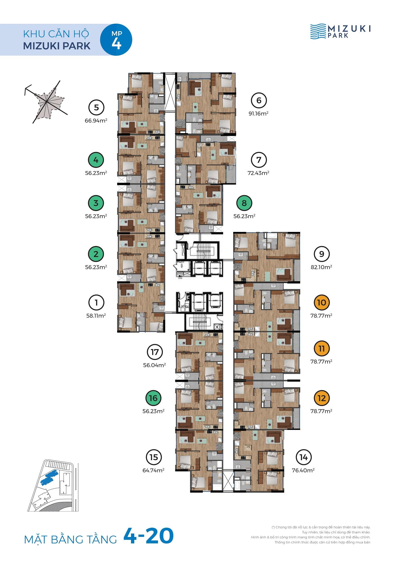 Mặt bằng Mizuki Park 4 tầng 3-4