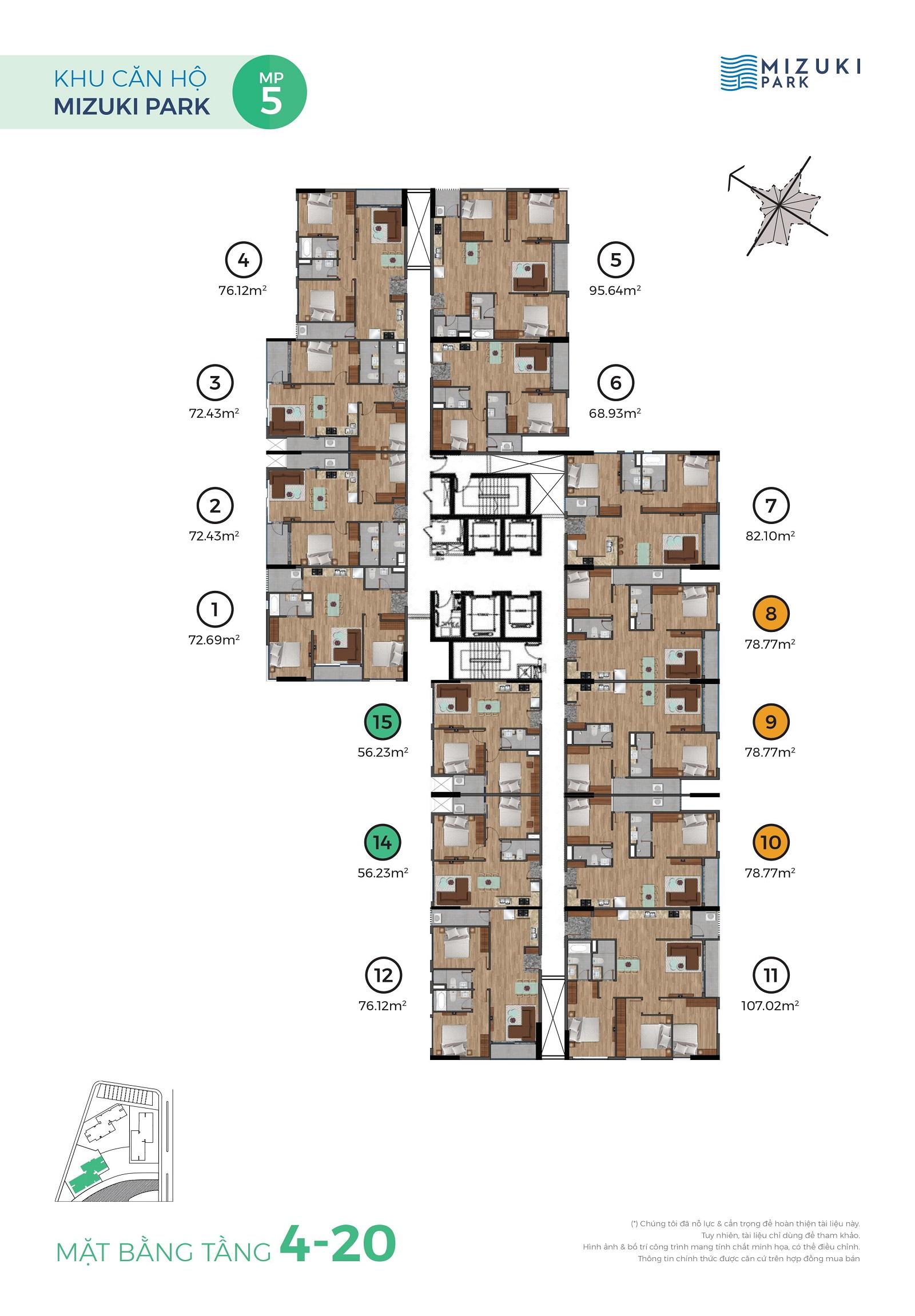 Mặt bằng Mizuki Park 5 tầng 3-4
