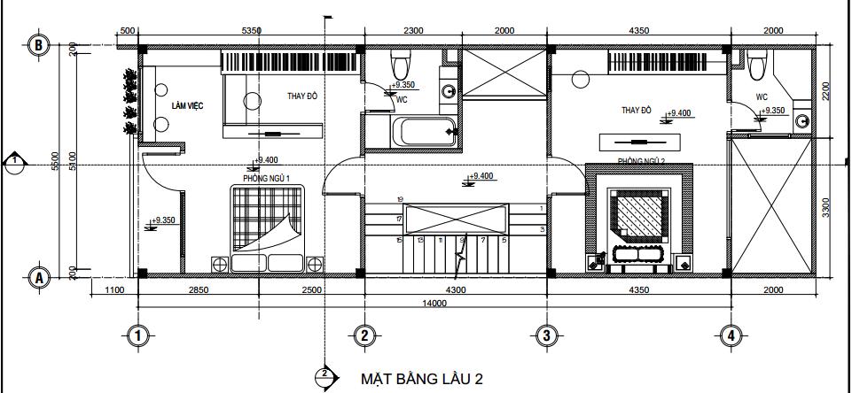 Bản vẽ thiết kế 2 phòng ngủ lớn hơn 20m2 cho ngôi nhà diện tích 5.5 x 17m.