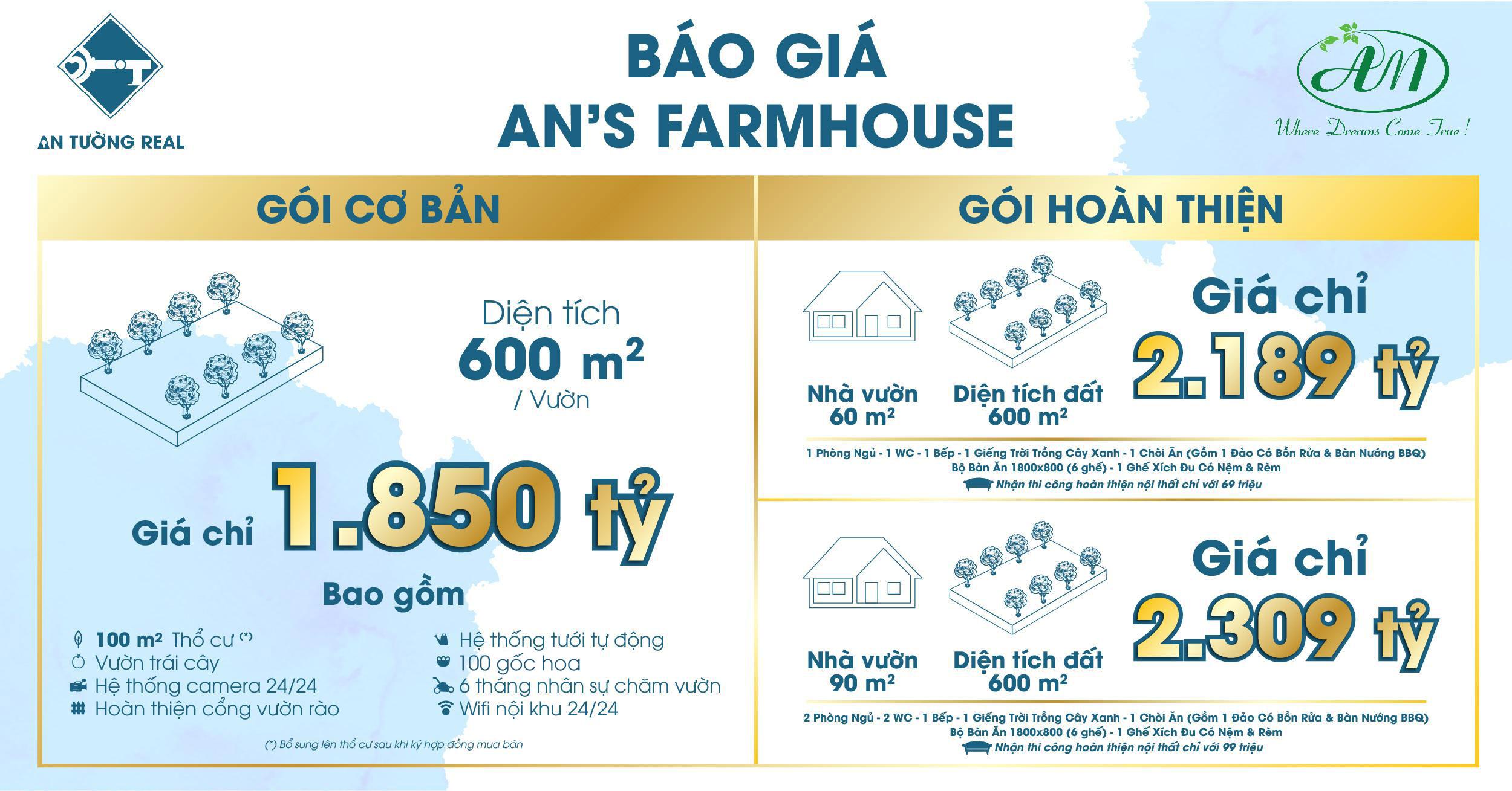 Báo giá An's Farmhouse tháng 10 2020