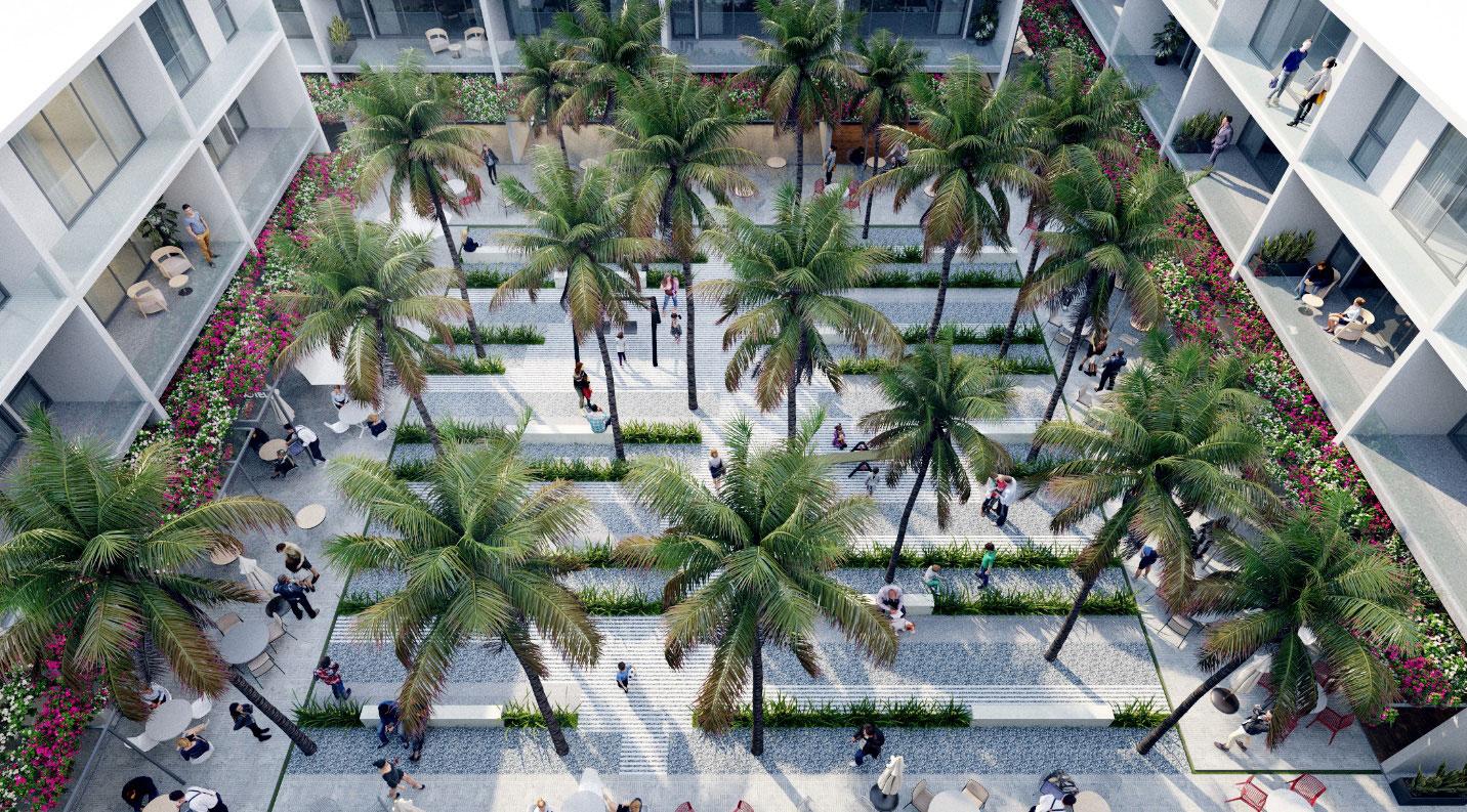 Hơn 15.000 m2 công viên cây xanh được quy hoạch riêng cho phân khu nhà phố thương mại biển The Sound by Thanh Long Bay. Ảnh: Nam Group.