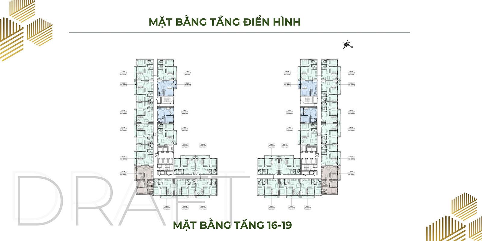 Mặt bằng dự án căn hộ Anderson Park tầng 16 - 19