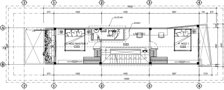 Mẫu thiết kế phòng ngủ 16m2 phù hợp với nhà ống diện tích không quá lớn.