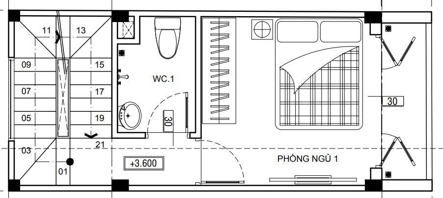 Nhà có diện tích sàn dưới 30m2 chỉ nên bố trí 1 phòng ngủ ở mỗi tầng.